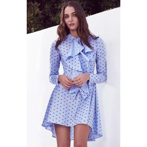 f6fd256c66 BCBGMaxAzria Dresses   Skirts - BCBGMaxAzria Chelsea Blue Ruffle Dot Shirt  Dress